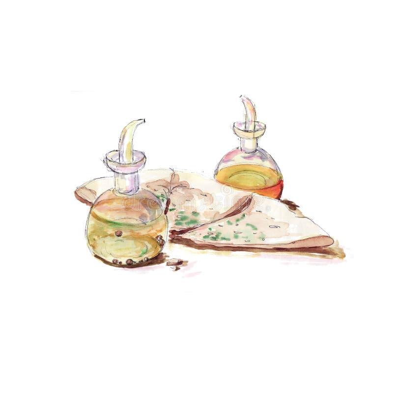 Fraîchement focacce parfumée et bouteilles en verre avec la vinaigrette - croquis d'aquarelle illustration libre de droits