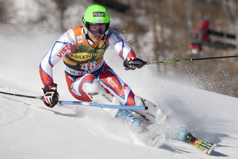 FRA: Ατόμων Val D'Isere alpine skiing slalom στοκ φωτογραφίες με δικαίωμα ελεύθερης χρήσης