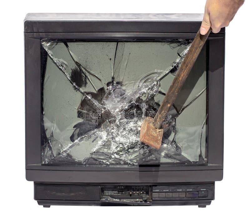 Fracas le marteau d'écran de TV image stock
