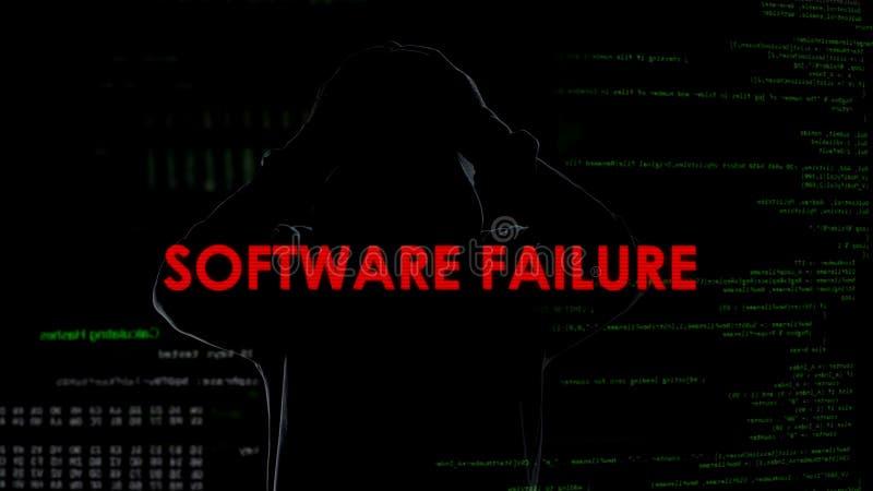 Fracaso de software, tentativa fracasada de cortar el servidor, criminal decepcionado fotos de archivo