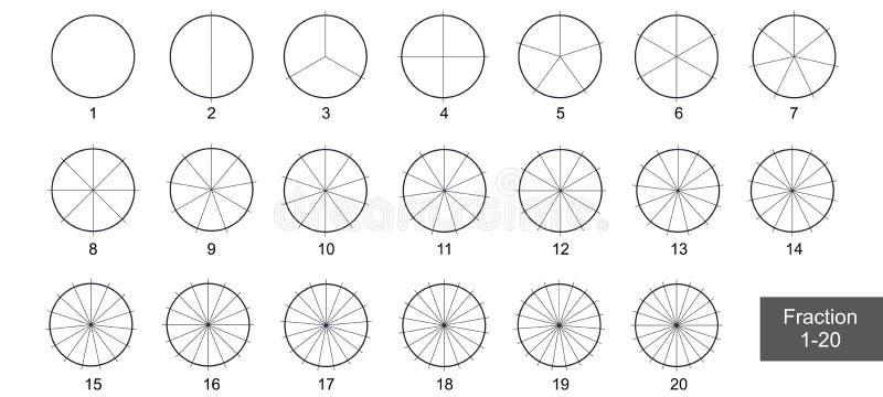 Fraccione el clip art de la empanada para la educación en el vector blanco del fondo ilustración del vector