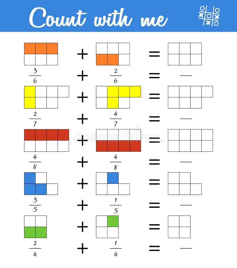 fracciones Cuenta del juego para los niños preescolares Educativo un juego matemático ilustración del vector
