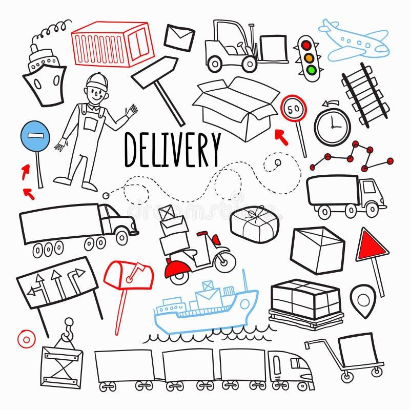 Fracht-Lieferungs-Versand-Hand gezeichnetes Gekritzel Logistische Industrie-Elemente Transport, Behälter, Service liefernd stock abbildung