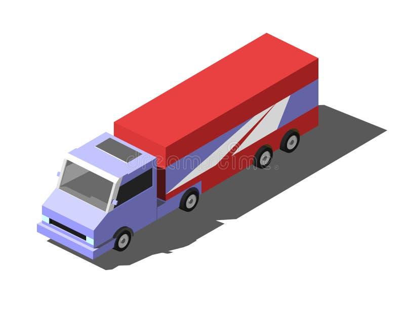 Fracht-LKW-Anhänger mit Behälter Isometrische Vektorillustration lokalisiert auf weißem Hintergrund stock abbildung