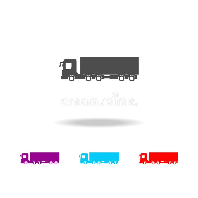 Fracht mit einer Anhängerikone Elemente von Autos in den multi farbigen Ikonen Erstklassige Qualitätsgrafikdesignikone Einfache I lizenzfreie abbildung