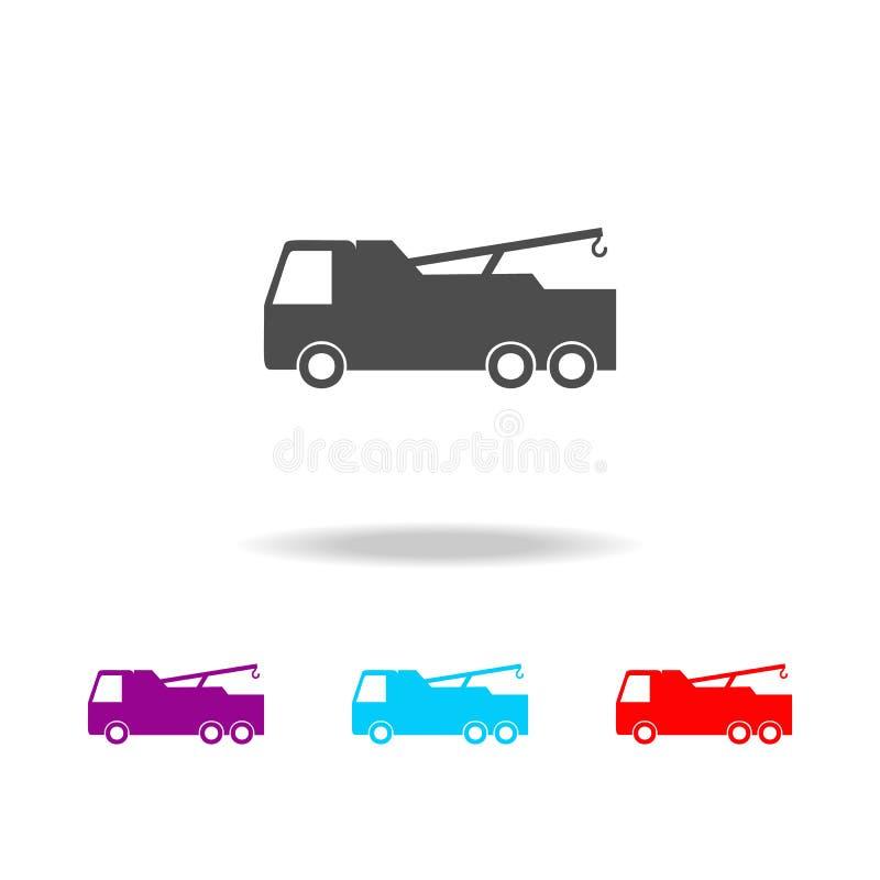 Fracht mit einer Kranikone Elemente von Autos in den multi farbigen Ikonen Erstklassige Qualitätsgrafikdesignikone Einfache Ikone stock abbildung