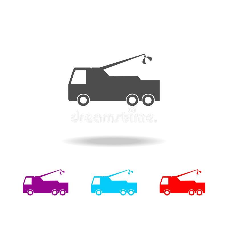 Fracht mit einer Kranikone Elemente von Autos in den multi farbigen Ikonen Erstklassige Qualitätsgrafikdesignikone Einfache Ikone vektor abbildung