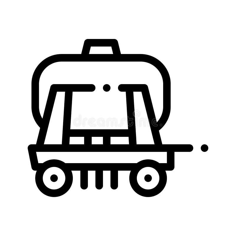 Fracht-Wasser-Anhänger-Fahrzeug-Vektor-dünne Linie Ikone lizenzfreie abbildung
