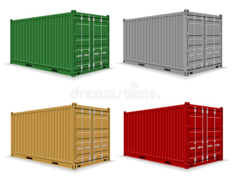 Frachtbehälter für die Lieferung und Transport von merchandi vektor abbildung