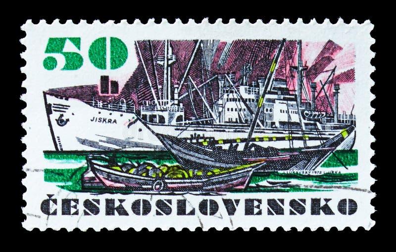 Frachter ` Jiskra-`, tschechoslowakisches Schiffe serie, circa 1972 lizenzfreie stockbilder
