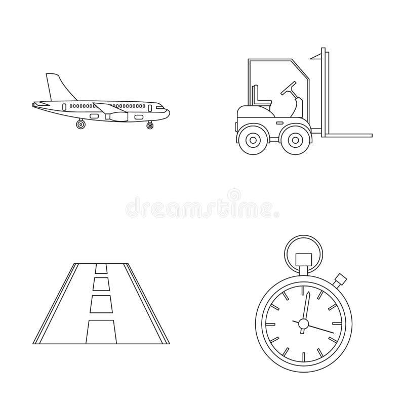 Frachtflugzeuge, Gabelstapler, Stoppuhr, Straße Logistische Satzsammlungsikonen in der Entwurfsart vector Illustration des Symbol stock abbildung