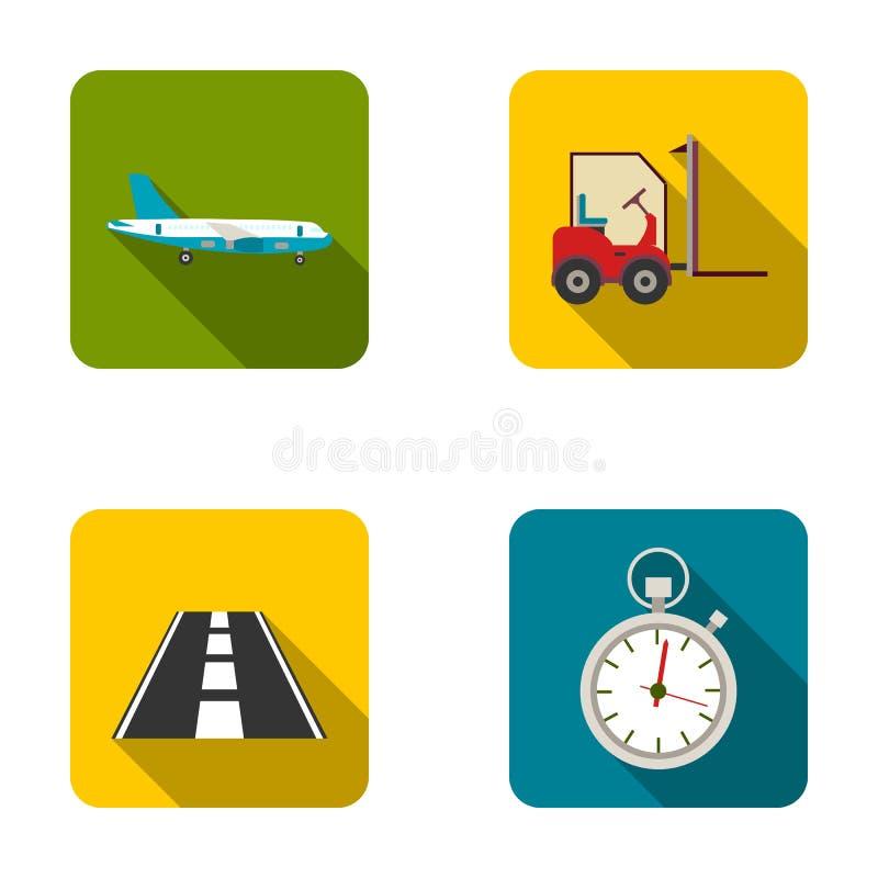 Frachtflugzeuge, Gabelstapler, Stoppuhr, Straße Logistische Satzsammlungsikonen in der flachen Art vector Illustration des Symbol vektor abbildung