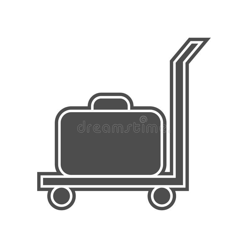 Frachtlaufkatze mit einer Kofferikone Element von minimalistic f?r bewegliches Konzept und Netz Appsikone Glyph, flache Ikone f?r lizenzfreie abbildung