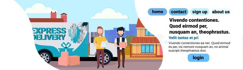 Frachtmehrzweckfahrzeugmannkurierchecklistenkastenpaketlieferungs-Transportbestimmungsort, der industrielles Konzepthausyard vers vektor abbildung