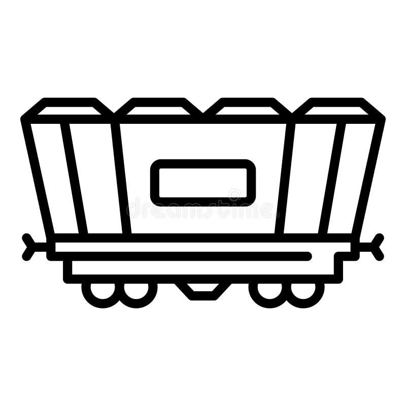 Frachtowa kolejowego furgonu ikona, konturu styl ilustracji