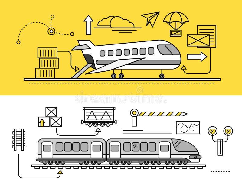 Frachtowa spedycja powietrza i poręcza pociągiem royalty ilustracja