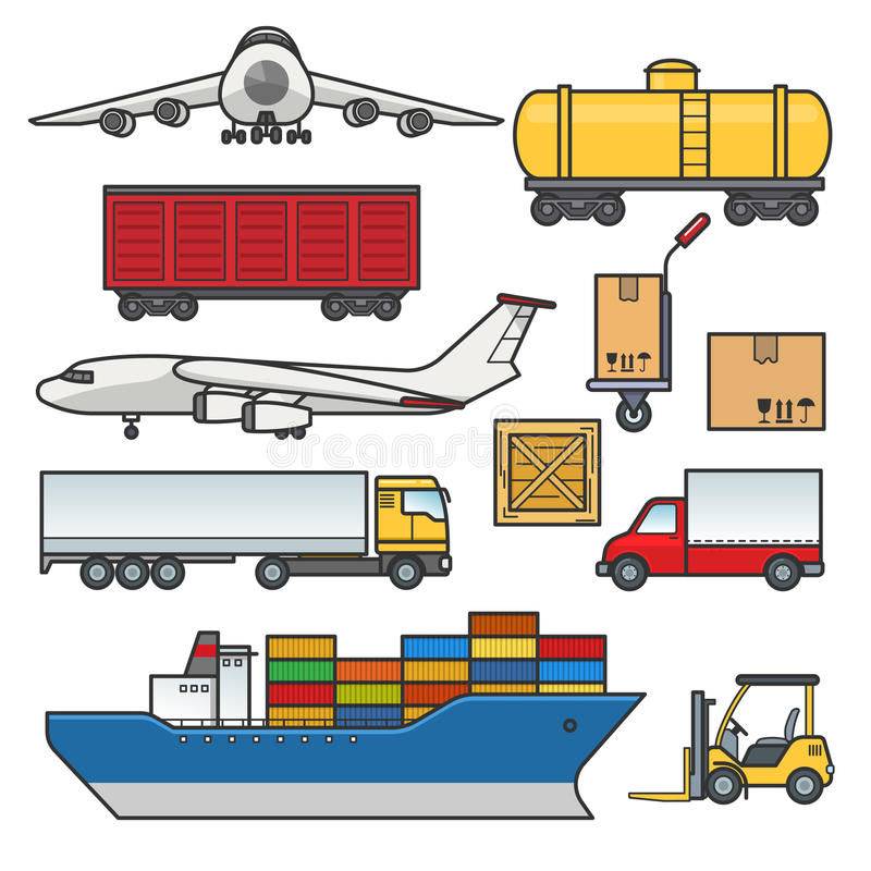 Frachtowego transportu ikony ustawiać Ładunek i dostawa, logistyka konturu płascy elementy Freighter statek, ciężarówka, ciężarów ilustracja wektor