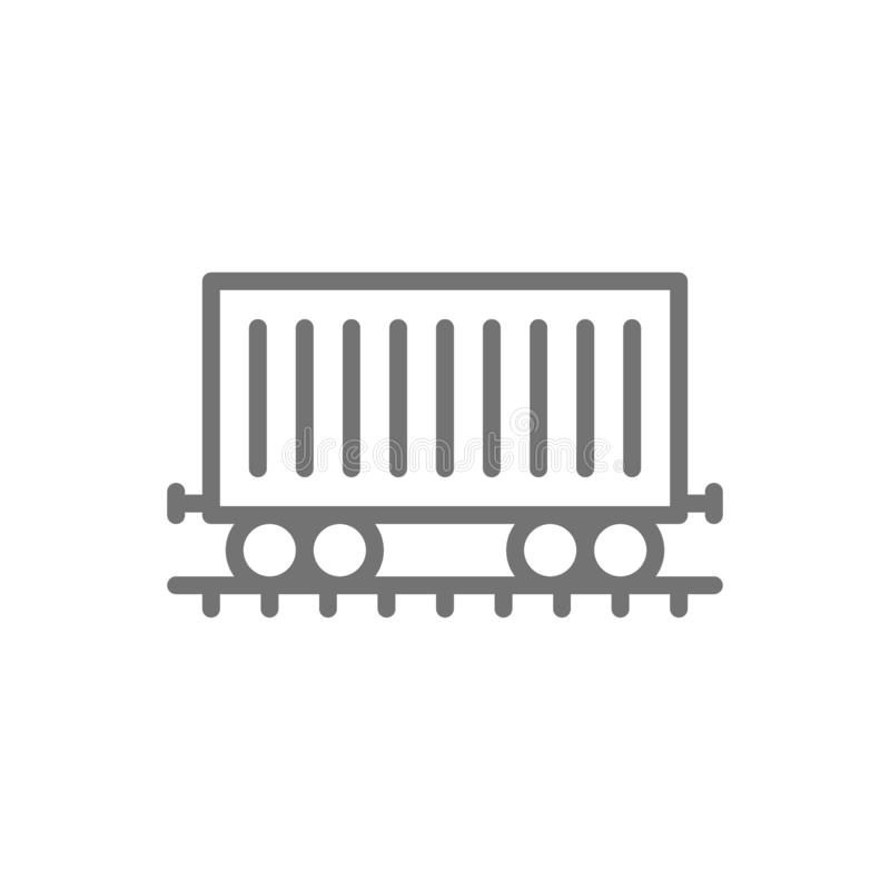 Frachtowy samochód na poręczach, ładunku furgon, pociąg kreskowa ikona ilustracji