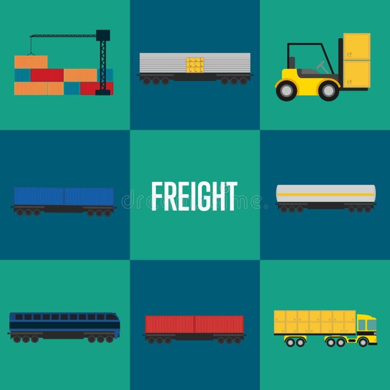 Frachtowy transport ikony set ilustracji