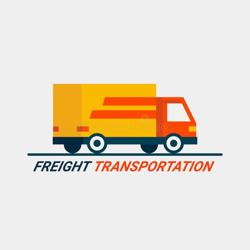 Frachtowy transportu pojęcie Ładunek Logistycznie usługa Mieszkanie stylu ciężarówki ikona na lekkim tle Szybka wysyłka samochode ilustracja wektor