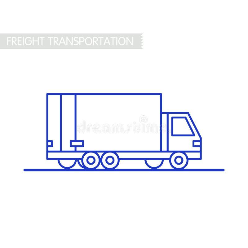 Frachtowy transportu pojęcie Doręczeniowej usługa ciężarówka kontur na bielu Wysyłka samochodem lub ciężarówką Kreskowa ikony dos ilustracja wektor