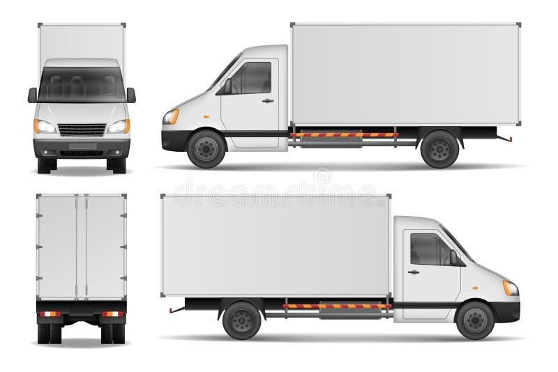 Frachtpackwagen lokalisiert auf Weiß Stadthandelslieferwagenschablone Weißes Fahrzeugmodell Auch im corel abgehobenen Betrag lizenzfreie abbildung