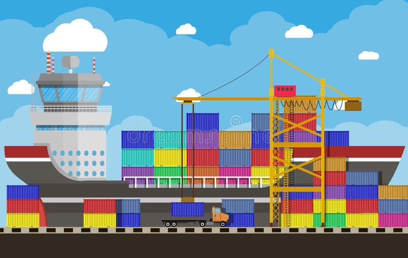 Frachtschiff, Behälterkran, LKW Hafen-Logistik lizenzfreie abbildung