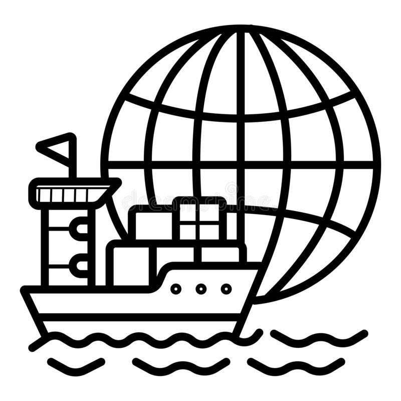 Frachtschiff-Ikonenvektor lizenzfreie abbildung