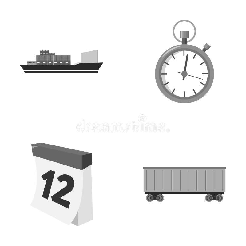 Frachtschiff, Stoppuhr, Kalender, Bahnauto Logistisch, stellen Sie Sammlungsikonen einfarbiges Artvektorsymbolauf lager ein lizenzfreie abbildung