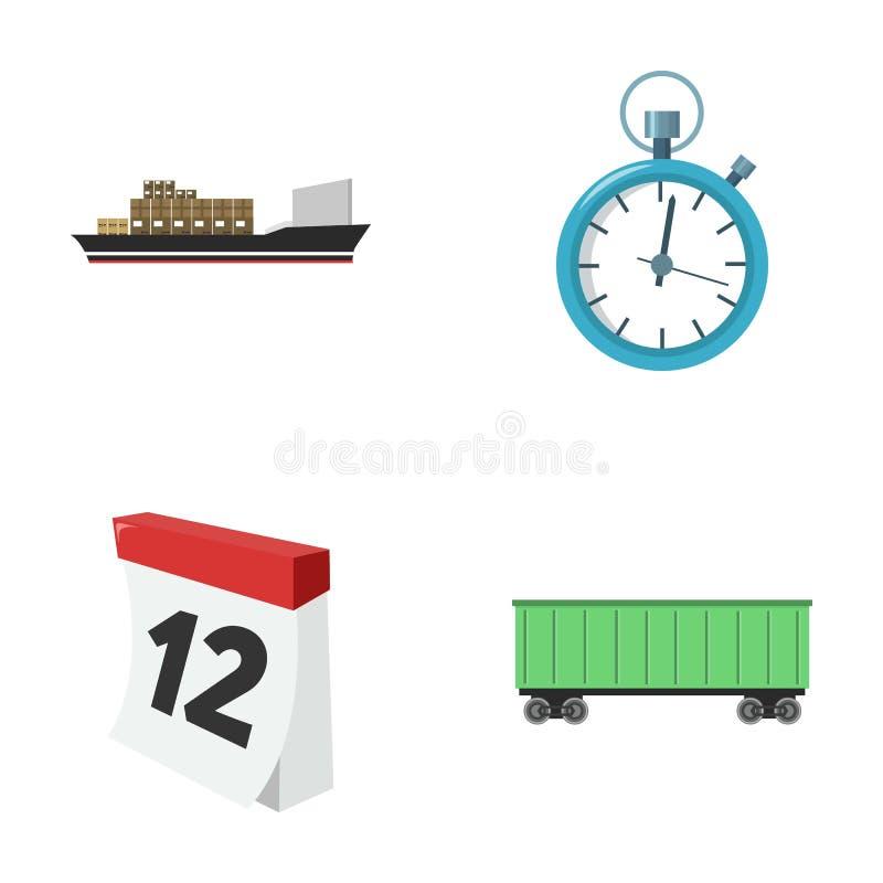 Frachtschiff, Stoppuhr, Kalender, Bahnauto Logistisch, stellen Sie Sammlungsikonen Karikaturartvektorsymbolauf lager ein stock abbildung