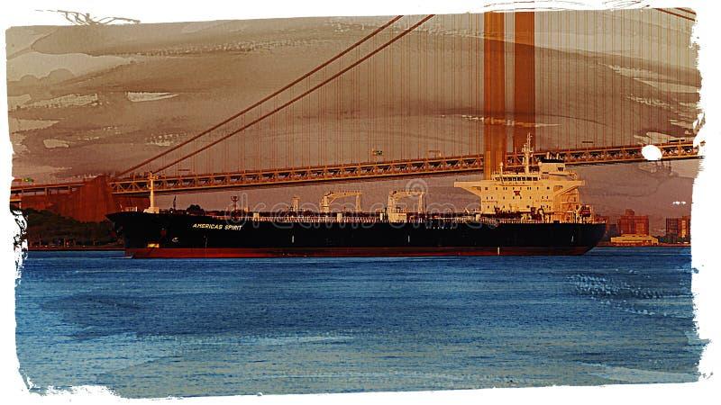 Frachtschiff und Hängebrücke lizenzfreies stockfoto