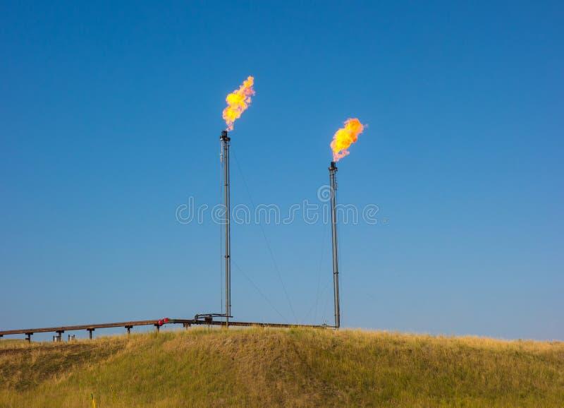 Fracking i North Dakota royaltyfri bild