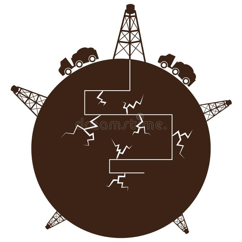 Fracking Process Globe vector illustration