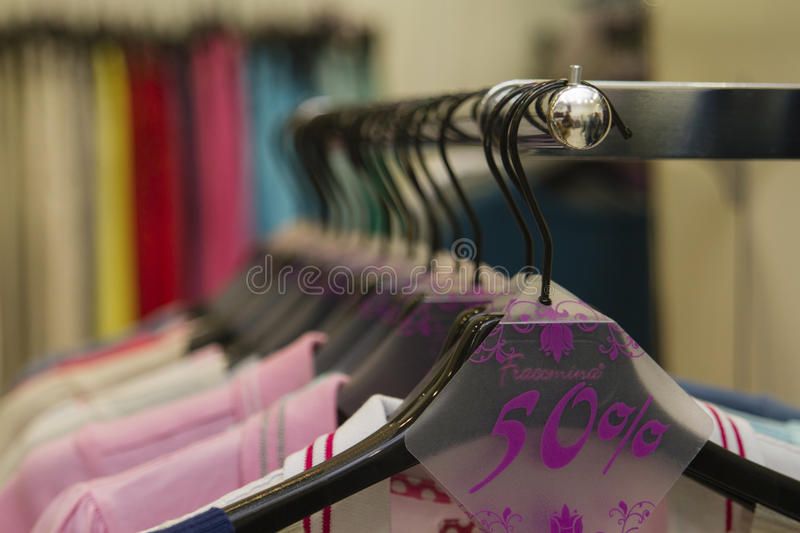 Fracomina boutique. sale in the shop royalty free stock image