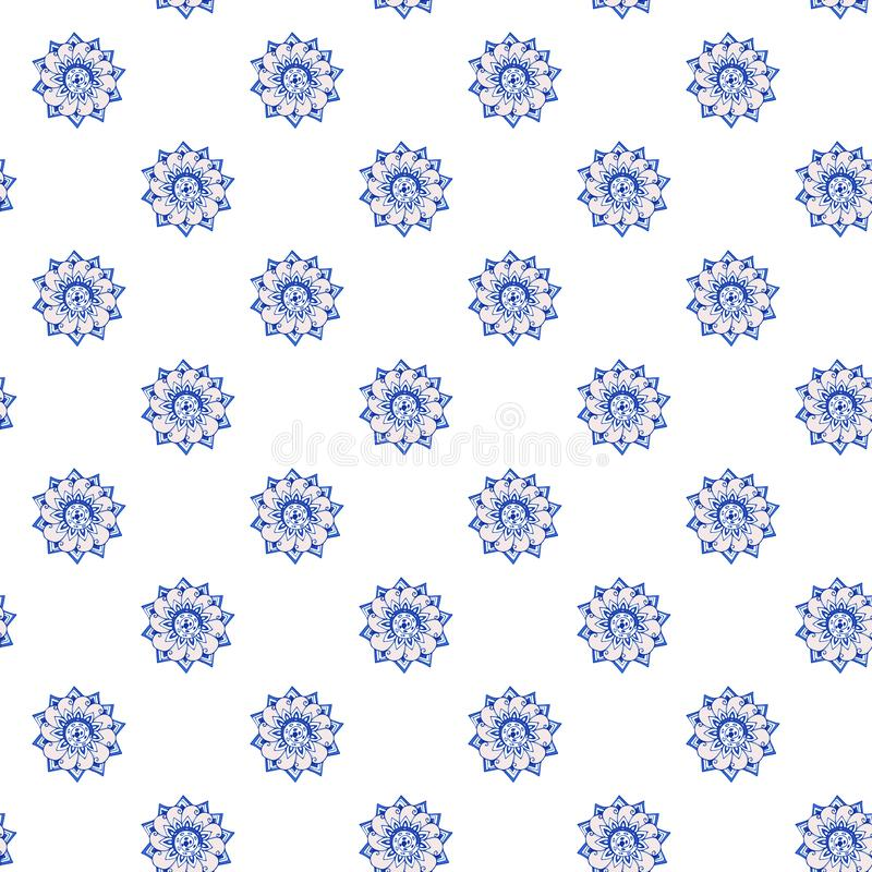 Fractal ανθίζει το hand-drawn σχέδιο των τυποποιημένων λουλουδιών στο cornflower και τα βαθυγάλανα μπλε χρώματα απεικόνιση Στην ά ελεύθερη απεικόνιση δικαιώματος