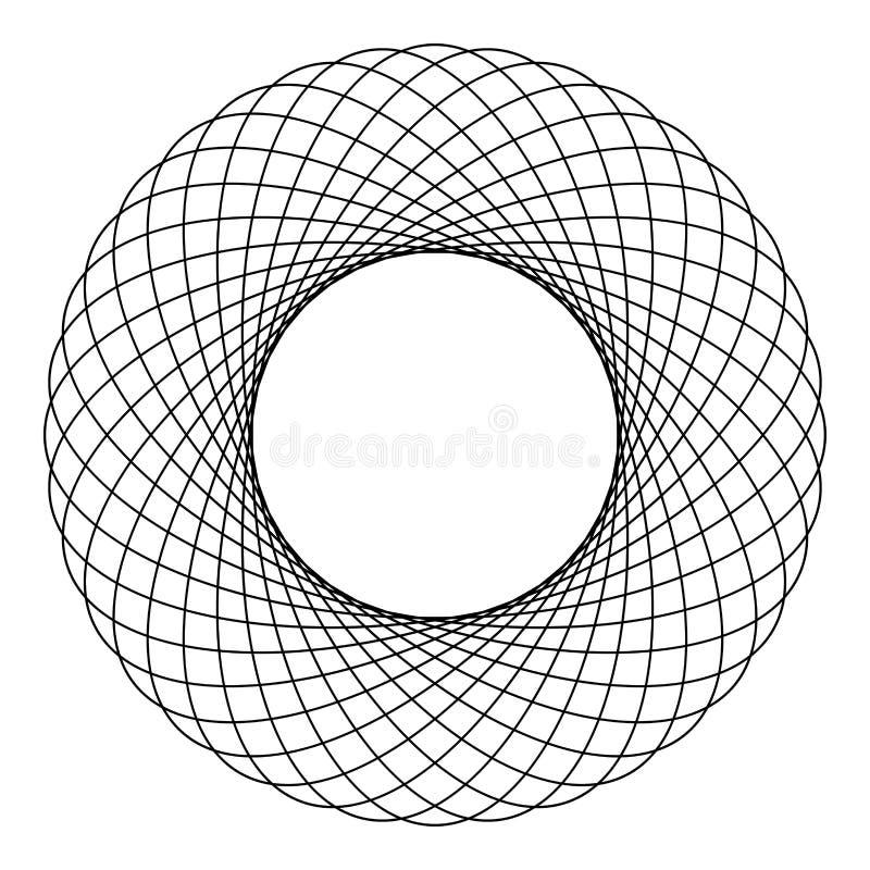 Fractal σχεδίων μορφής κύκλων στοιχείων Spirograph αφηρημένη ομόκεντρη γραφική εικονιδίων μαύρη χρώματος διανυσματική εικόνα ύφου διανυσματική απεικόνιση