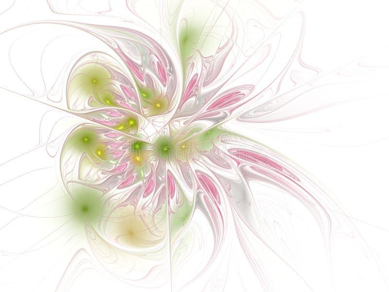Fractal απεικόνιση του φωτεινού υποβάθρου με τη floral διακόσμηση διανυσματική απεικόνιση