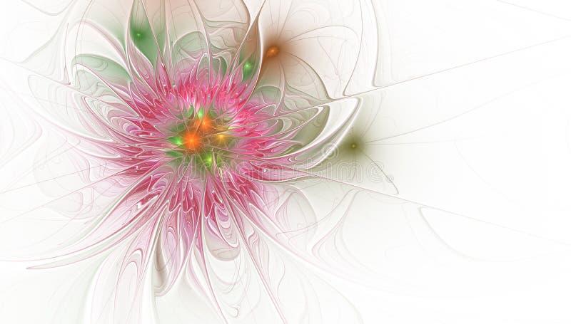 Fractal απεικόνιση του φωτεινού υποβάθρου με τη floral διακόσμηση απεικόνιση αποθεμάτων