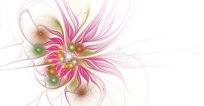 Fractal απεικόνιση του φωτεινού υποβάθρου με τη floral διακόσμηση ελεύθερη απεικόνιση δικαιώματος
