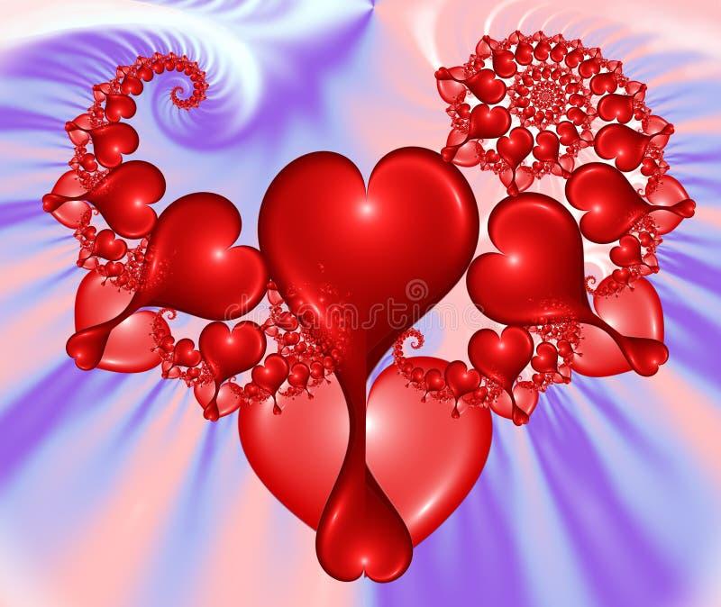 fractal επανάληψη εικόνας καρδιών διανυσματική απεικόνιση