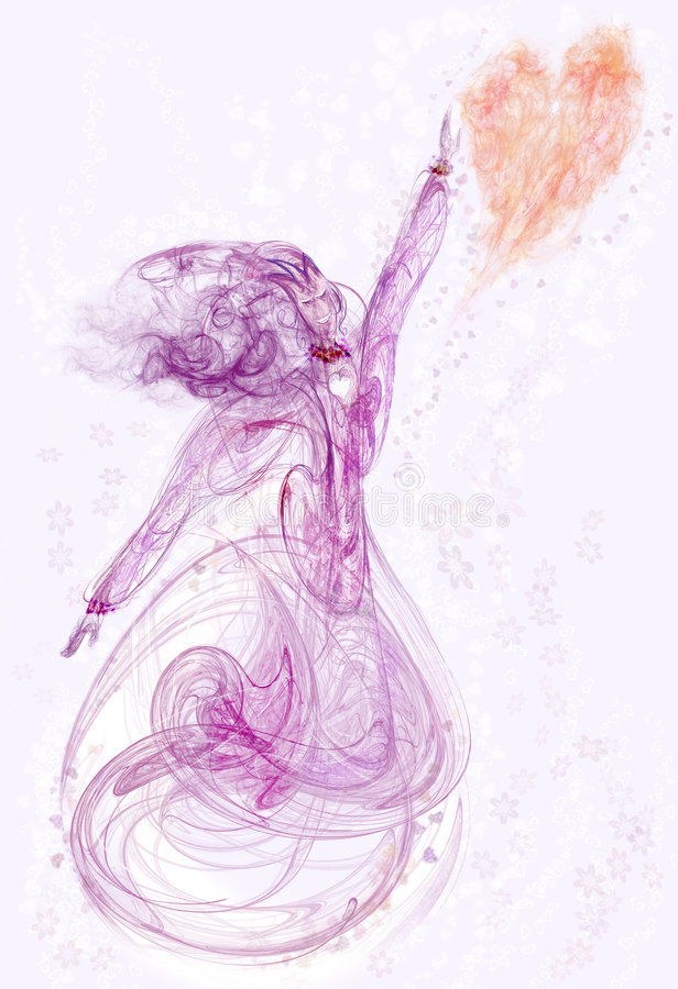 fractal καρδιά κοριτσιών διανυσματική απεικόνιση