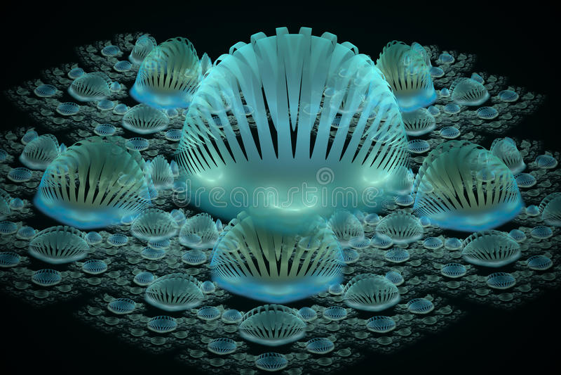 Fractal ομάδα μπλε κοχυλιών στοκ φωτογραφία με δικαίωμα ελεύθερης χρήσης