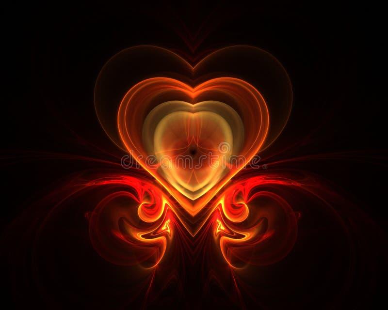 fractal πυρκαγιάς καρδιά διανυσματική απεικόνιση