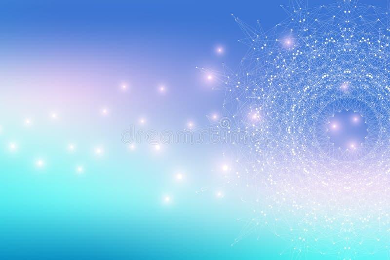 Fractal στοιχείο με τις γραμμές και τα σημεία ενώσεων Μεγάλα στοιχεία σύνθετα Γραφική αφηρημένη επικοινωνία υποβάθρου ελάχιστος απεικόνιση αποθεμάτων