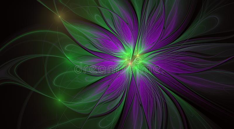 Fractal φαντασία και καλλιτεχνικό λουλούδι Όμορφο λαμπρό φουτουριστικό υπόβαθρο διανυσματική απεικόνιση