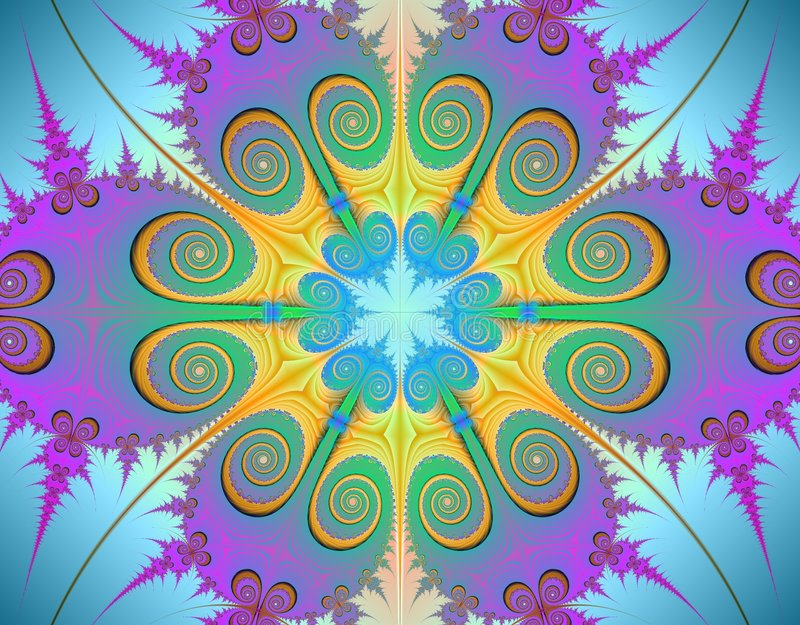 Fractal. Beautiful colours in this simmetric fractal vector illustration