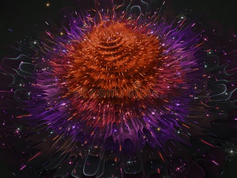 Fractal abstract futuristic, flower elegant design, bloom ornament graphic magic digital render design decorative. Fractal abstract design render decorative royalty free stock image
