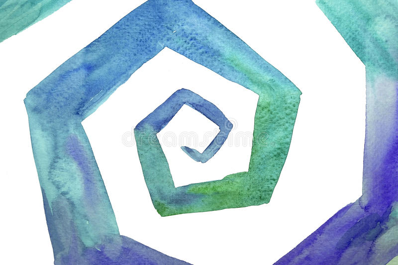 Fractal abstract painting in watercolor stock images
