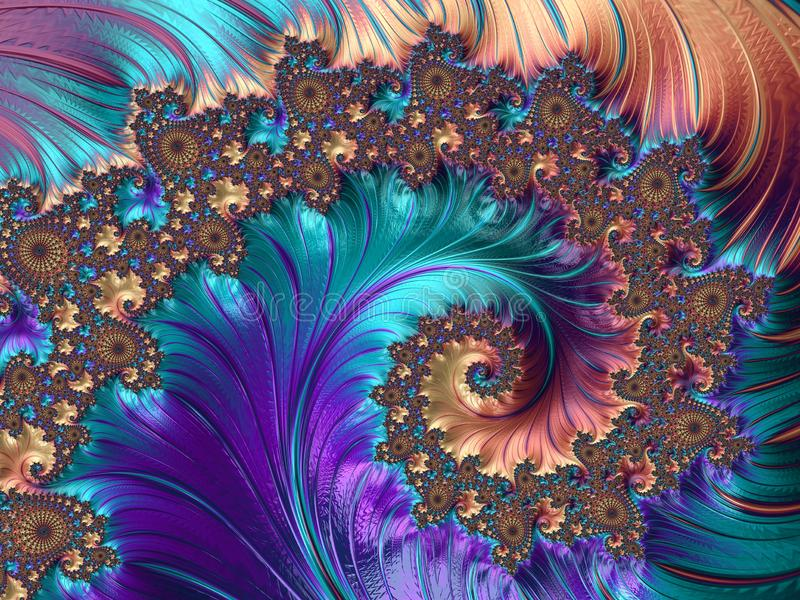 Fractal Abstracte patronen en vormen Fractal textuur Pauwpatroon vector illustratie