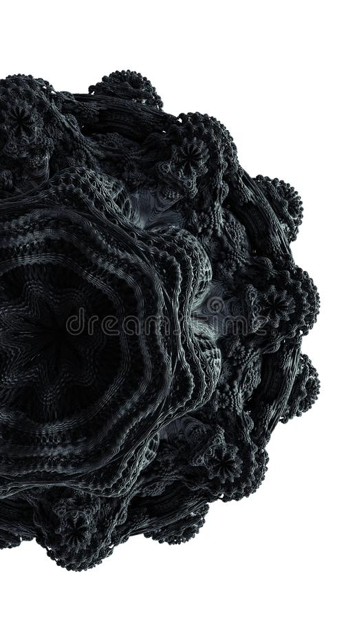 Fractal abstraction 3d rendering illustration. Black ornament rubber material on isolated white background. Creative detailed stock illustration